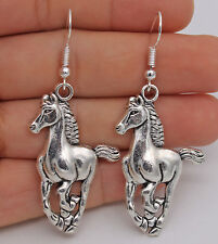 "925 Silver Plated Hook -2.3""  Fashion Steed Horse Women Party Retro Earrings #07"