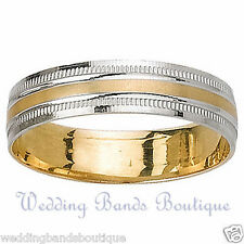 18K TWO TONE WHITE YELLOW GOLD MEN'S WEDDING BAND MANS MILGRAIN COMFORT RING 6MM