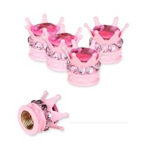 4 Pcs Car Wheel Tire Rim Valve Stem Air Caps Pink Bling Diamond Crown