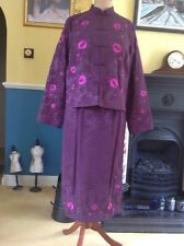 Monsoon Oriental Purple Silk Mix Skirt Suit with Floral Embroidery