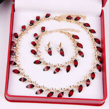 Red Resin Jewelry Set Swarovski Element Crystal Necklace Earring Bracelet