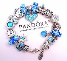 Authentic Pandora Silver Charm Bracelet With Mom & Daughter European Charms.