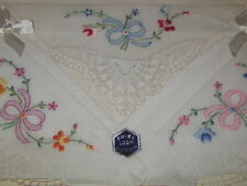 Vintage set of 3 beautiful Swiss loom embroidered handkerchiefs with lace,in box
