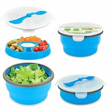 Smart Planet Eco Deluxe Salad Bowl Blue Collapsible To-Go Food Lunch Container