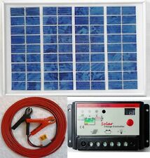5w Solar Panel + 10A 12v Battery Charger Controller + 8m cable c/w fuse & clips