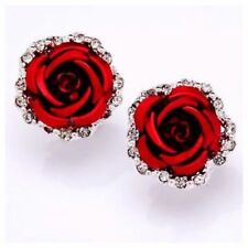 ED7 Gorgeous Metal Sculpted Rose & Crystal Lever Back Earrings