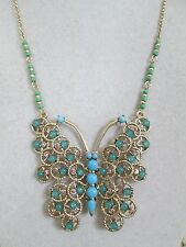 NWT Auth Betsey Johnson Boho Betsey Blue Butterfly Large Pendant Chain Necklace