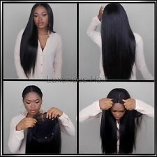8A 130 Density Brazillian Glueless Lacefront Silky Straight Human Hair Wig 24in
