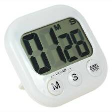 Large LCD Display Digital Kitchen Racing Alarm Count UP Down Cooking Timer White