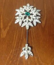 RARE Vintage Sarah Coventry ROYAL SCEPTRE 2 part Brooch Pin Rhinestone Pave VGC