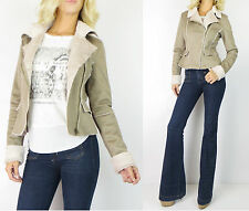 Shearling FUR Collar Faux LEATHER JACKET Taupe Biker Moto Knit Pu Outwear Coat M