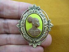(CA10-4) RARE African American LADY brown + yellow CAMEO Pin Pendant JEWELRY