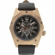 Watch Rose Gold Plated Automatic Dial Black Leather Strap Timepiece