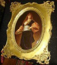 Antique KPM Porcelain Plaque After Nathaniel Sichel Lady with Tambourine Framed.
