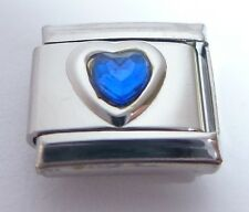 DARK BLUE GEM HEART Italian Charm September Birthstone LOVE fits 9mm Bracelets
