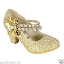 GIRLS LOW HEEL PARTY MARY JANE DIAMANTE EVENING SANDALS WEDDING COURT SHOES SIZE