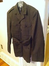 vintage men's size 36S 36 small military belted jacket Wool Blend Army Navy old