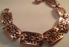 "7.75"" Vintage Solid Copper Happy Sun Face 7 Panel Bracelet"