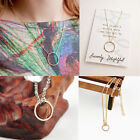 New Womens Simple Clavicle Necklace Chain Round Charm Circle Pendant