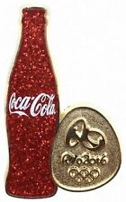 Rio 2016 Olympics Coca Cola Red Glitter Coke Bottle dated PIN Badge