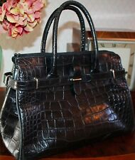 RUSSELL AND BROMLEY REAL LEATHER BLACK CROC STYLE BIRKIN BAG TOTE HANDBAG ITALY