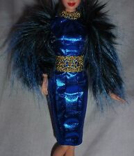 * DRESS ONLY ~BARBIE DOLL BLUE FAUX FUR SLEEVE EFFIE TRINKET HUNGER GAMES GOWN