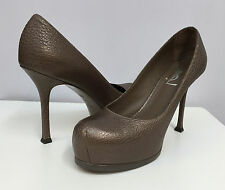 YSL TRIBTOO SHOES LEATHER SNUB TOES TAUPE BEAUTIFUL COLOR FOR ALL YEAR 36 1/2