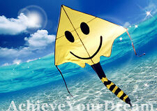 Yellow Smiling Face Kite 120x(80+140)cm Line Grip included OKITE2712 & OKLIN2100