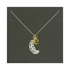 Lily Charmed NEW! Sterling Silver Large Feather & Gold Plated Initial E Necklace
