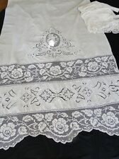 CIRCA 1900's,LOVELY PAIR OF CURTAINS W/CHERUBS, FILET LACE, WHITEWORK EMBROIDERY