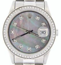 Rolex Datejust Mens Stainless Steel Tahitian MOP Diamond w/ President Style Band