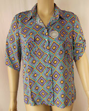 Rockmans Multi Tile Print Elbow Sleeve Viscose Tunic Shirt Top Size 18 BNWT #V93