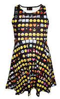 Kids / Girls Cute Emoties Emoticons Smiley Faces Skater Dress Size 5 -10 Years