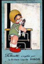Publicité ENCAUSTIQUE MIROR / ENFANT au FOURNEAU illustré par Beatrice MALLET