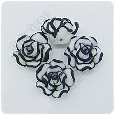 20pcs Black & White fimo polymer clay Rose Flowers Beads Findings 12mm x 8mm R28