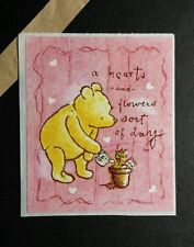 WINNIE THE POOH WATERING PLANT HEARTS AND FLOWERS SORT OF DAY  VTG 2.5X3 STICKER