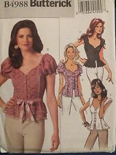 OOP BUTTERICK 4988  MS/MP Princess Tops in 4 Variations PATTERN 6-8-10-12 UC