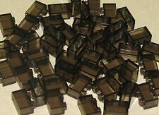 LEGO LOT OF 50 NEW 1 X 2 TRANSPARENT BLACK TOWN CITY BRICKS BLOCKS PIECES