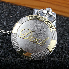 Pewter Brass Embossed DAD Necklace Quartz Pocket Watch Men's Pappy Father P309