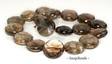 23MM  SMOKY QUARTZ GEMSTONE FACETED FLAT ROUND LOOSE BEADS 7""