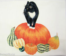 Alice's Cottage Cotton Flour Sack Kitchen Tea Towel Black Cat Pumpkin - NEW