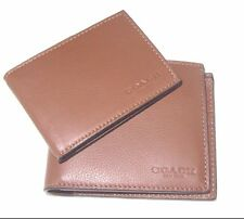 New Coach Men's Compact ID Sport Calf Dark Saddle Leather Wallet F74991 NWT $175