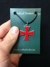 PENDANT ASTRAL PEWTER RED TEMPLAR CROSS NECKLACE HAND CRAFTED UK FINISH NEW