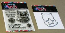 """DARE 2B ARTZY """"OWL BE HOME 4 XMAS"""" CLEAR STAMP SET & DIE SET - NEW"""