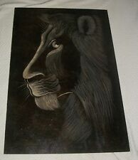 LION FACE SAHARA PRIDE OIL PAINTING ON BOARD ART HOUSE ORIGINAL INK STAMP KENYA