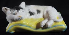 Vintage Ceramic Sleepy Calico Cat on Pillow Hand Painted Majolica Style Italy