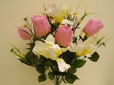 "PINK CREAM Mix Tulip Iris Bush 22 Artificial Silk Flowers 22"" Bouquet 4927PKCR"