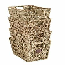 VonHaus Large Set of 4 Seagrass Storage Organizer Baskets with Insert Handles