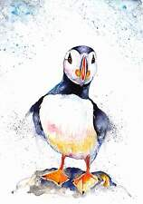 A4 PRINT of an Original Watercolour Painting by Be Coventry,Realism,Puffin