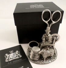 A.E. WILLIAMS SEWING STATION PEWTER WELSH LADY THIMBLE SCISSORS PIN CUSHION 8919
